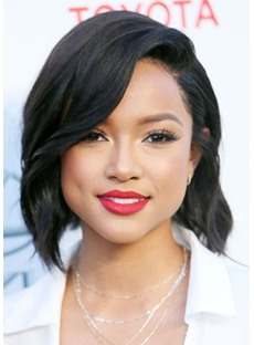 Women's Short Layered Karrueche Tran Hairstyles Side Part Wavy Human Hair Lace Front Wigs 14Inch
