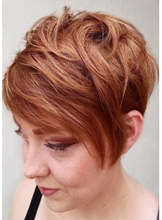 Pixie Cut Women's Short Choppy Hairstyles Natural Looking Straight Synthetic Hair Capless Wigs 8Inch