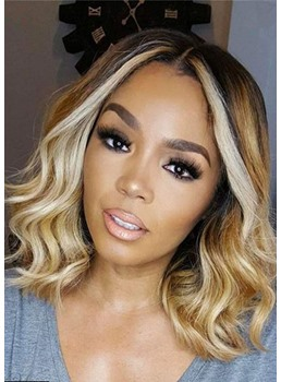 Medium Bob Middle Parted Wavy Synthetic Hair Wig