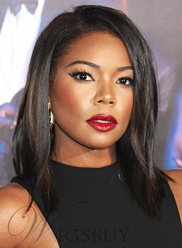 Gabrielle Union Medium Straight Capless Human Hair Wig 12 Inches