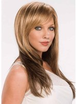 Natural Looking Women's Long Length Straight Human Hair Wigs With Bangs Capless Wigs 26Inch