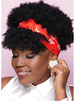 Headband Wig Afro Curly Synthetic Hair African American Wig