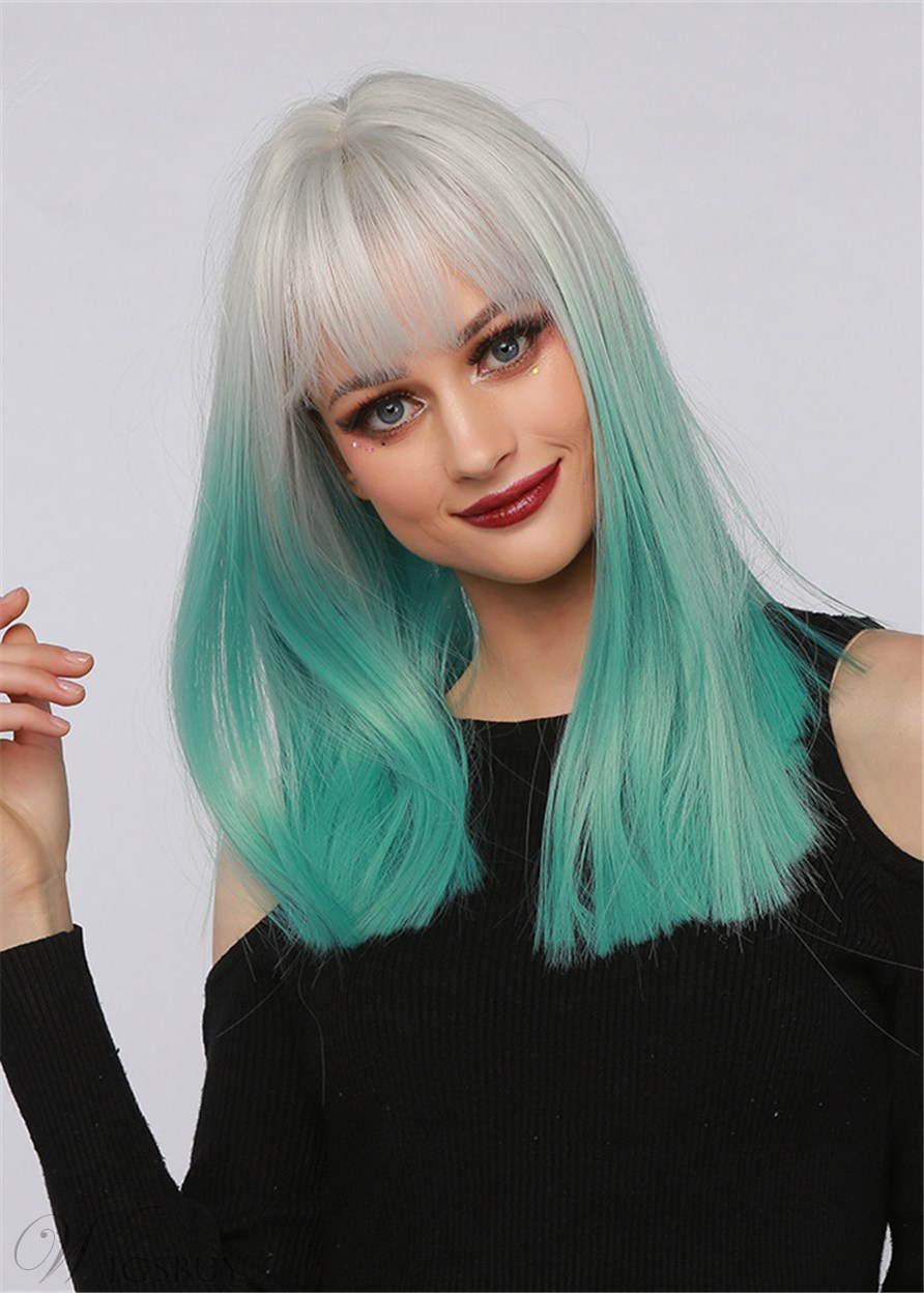 Ombre Color Hairstyle Synthetic Straight Hair Wig With Bangs 20 Inches