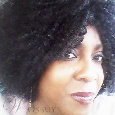 Loose Kinky Curly Medium Synthetic Hair Capless Wigs 14 Inches
